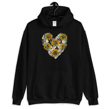 Load image into Gallery viewer, Unisex Sunflower Cowhide Heart Hoodie