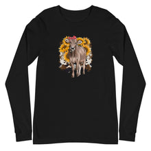Load image into Gallery viewer, Unisex Long Sleeve Sunflower Cow Tee