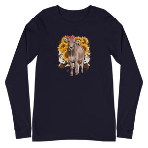 Unisex Long Sleeve Sunflower Cow Tee