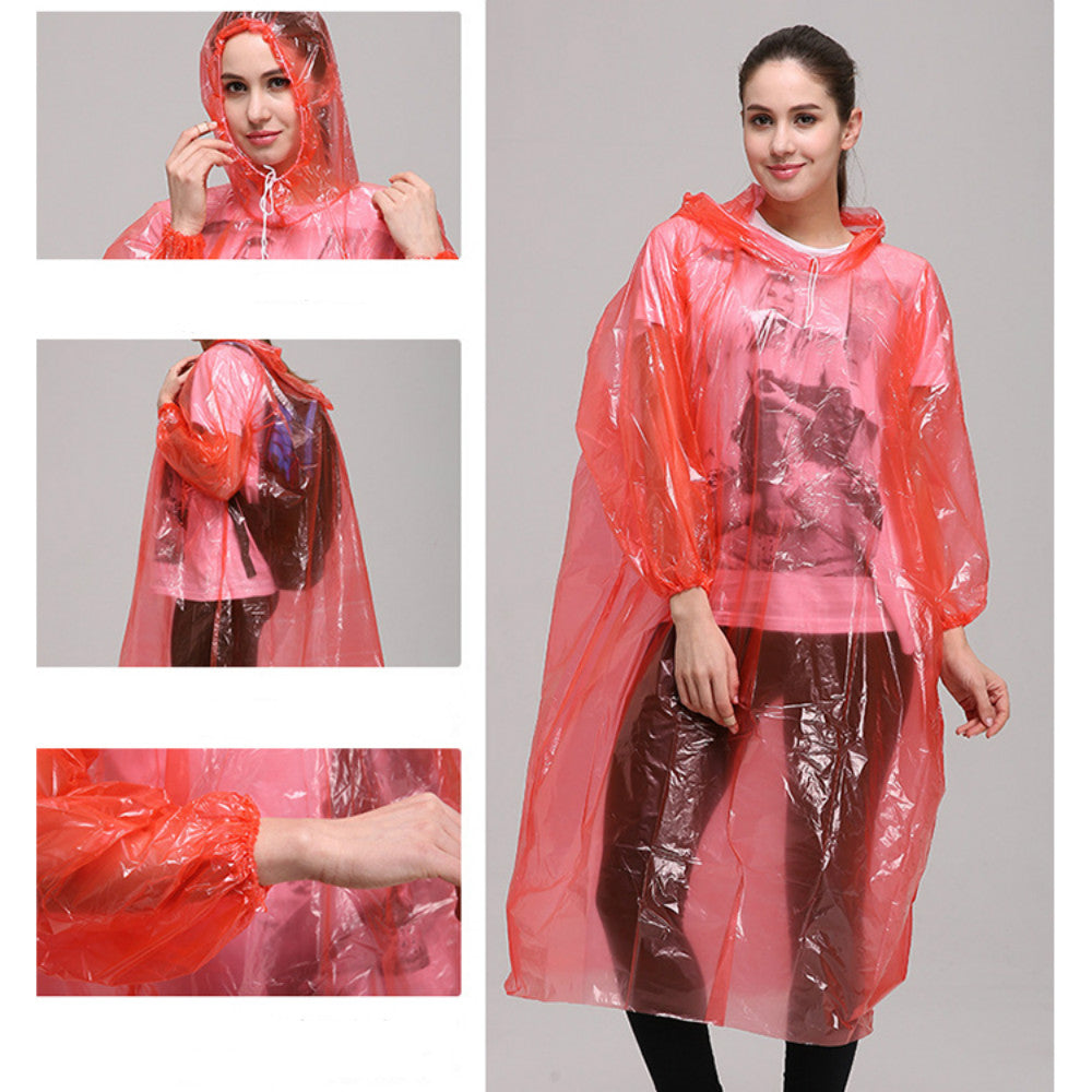 50PCS Disposable Adult Emergency Waterproof Rain Coat Poncho Hiking Camping Hood