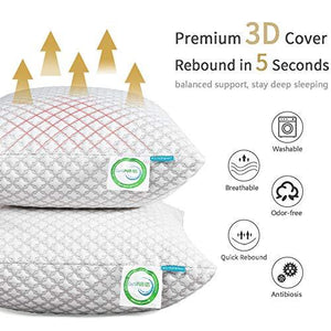 KUNPENG Shredded Memory Foam Bed Pillows for Sleeping(Size:Queen)