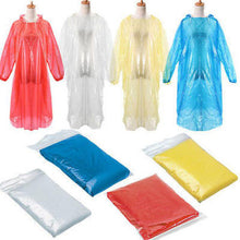 Load image into Gallery viewer, 50PCS Disposable Adult Emergency Waterproof Rain Coat Poncho Hiking Camping Hood