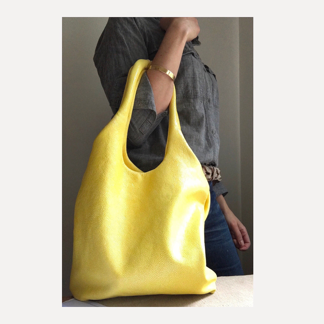 lemon yellow leather shimmer hobo