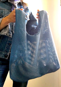 open weave shopper/hobo in m id blue