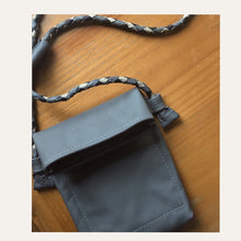 Load image into Gallery viewer, grey bag with multi colored braided strap - all hand cut & hand braided.