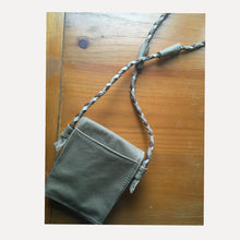 Load image into Gallery viewer, back view of taupe bag. it has an antique copper magnetic snap closure.