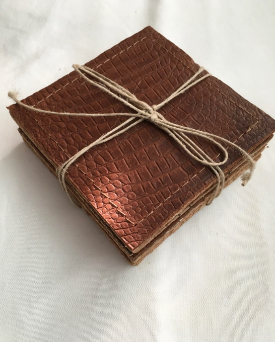 cork backed solid leather coasters