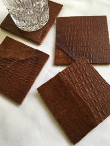 cork backed leather coasters patchwork