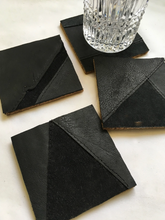 Load image into Gallery viewer, cork backed leather coasters patchwork