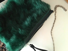 Load image into Gallery viewer, *green shearling bag and chain*
