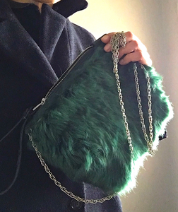 *green shearling bag and chain*