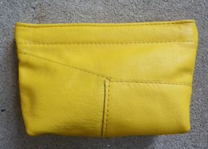 black, embossed, navy and yellow facile spring frame pouch*