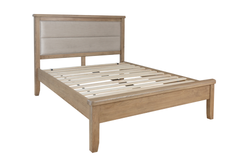 Litchfield Wooden Bed with Fabric Headboard and Low Footboard Set