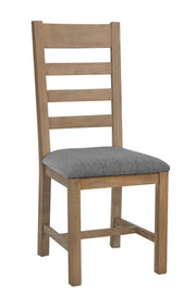 Litchfield Wooden Slatted Dining Chair (Grey Check)