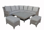 Sarah Corner dining set in Grey with Silver Grey Cushions (Lift up Table)