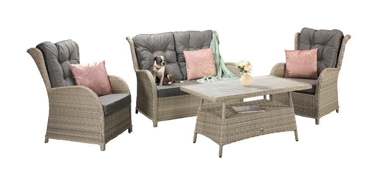 Four seat sofa set with supper table in Creamy Grey wicker with Pale Grey Cushions