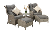 Five Piece Reclining lounge set in Fine Creamy Grey wicker with Pale Grey Cushion