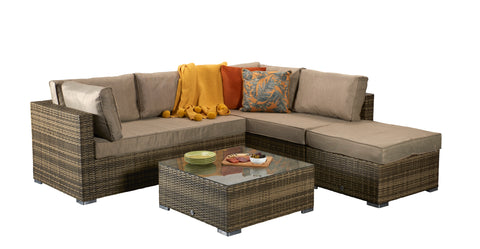 Savannah Corner Sofa in 8mm Flat Nature Brown Weave
