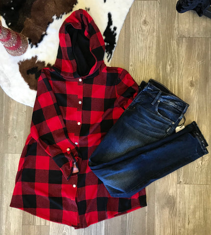 Buffalo Plaid Button Front Hooded Top