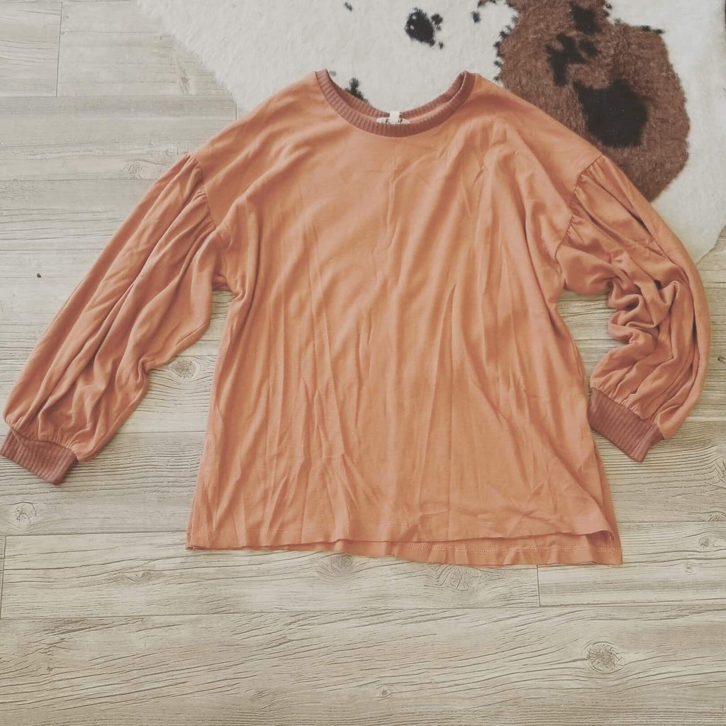 Burnt Orange Bounce Sleeve Top