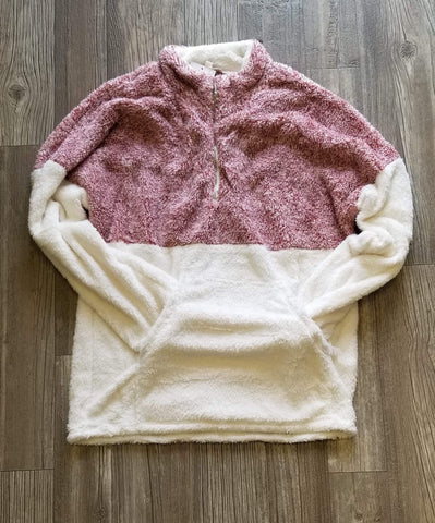 Red/Cream Half Zip Sherpa
