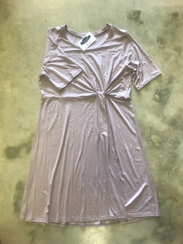 Tan Solid Gathered Dress