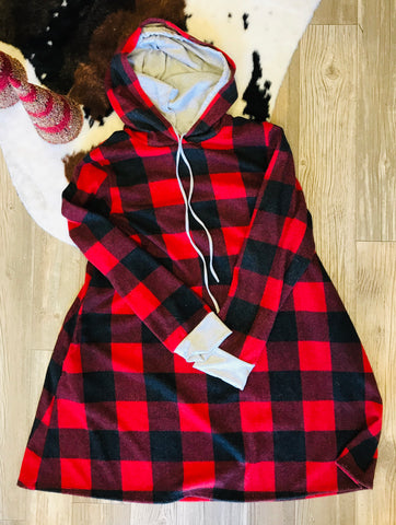 Buffalo Plaid Hooded Swing Top