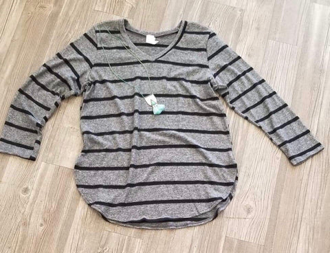 V Neck Grey Stripe Top