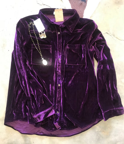 Purple Velvet Button Up