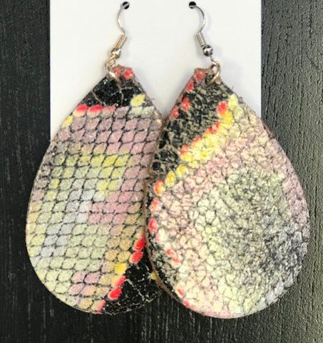 Snakeskin Colored Leather SB Earring