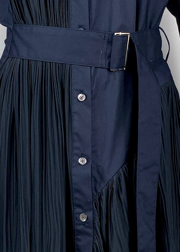 [PRE-ORDER] Pleated Asymmetric Shirt NAVY