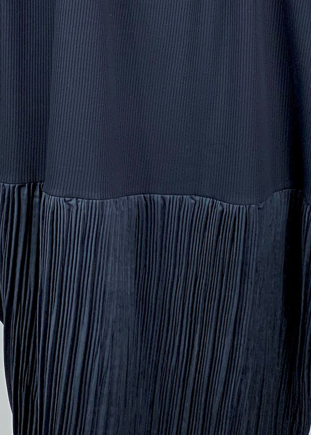 Pleated Drape Dress NAVY