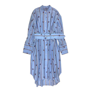 Embroidered Shirt Dress BLUE