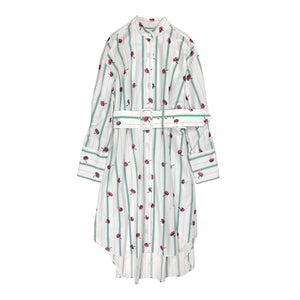 Embroidered Shirt Dress WHITE