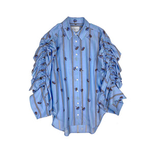Embroidered Shirring Shirt BLUE