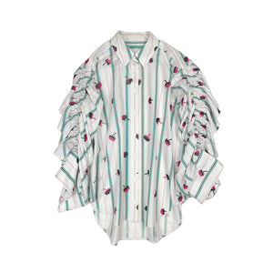 Embroidered Shirring Shirt WHITE