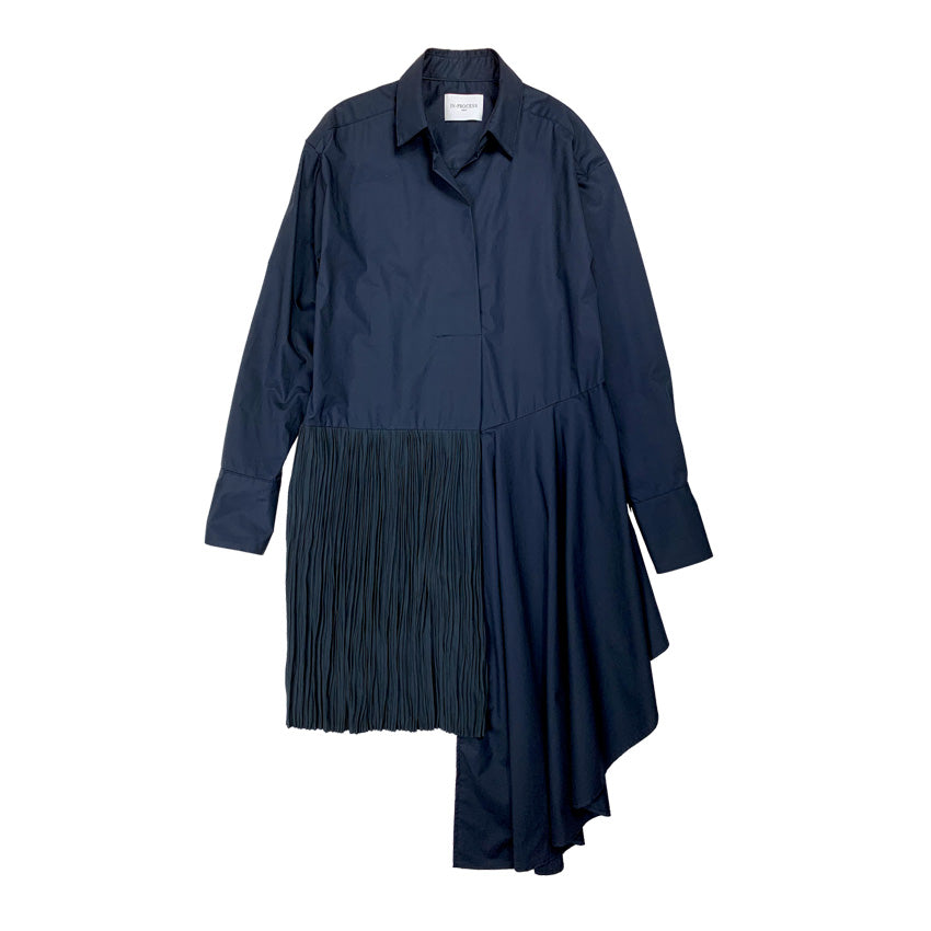 [PRE-ORDER] Pleated Asymmetric Blouse NAVY