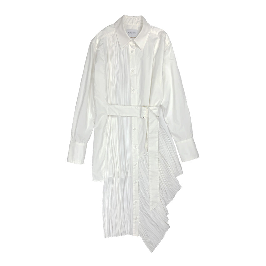 [PRE-ORDER] Pleated Asymmetric Shirt WHITE
