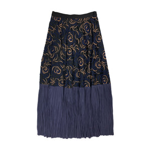 Embroidered Pleated Skirt BLACK