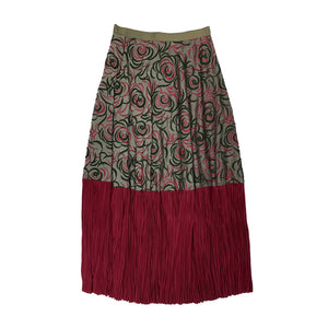 [PRE-ORDER] Embroidered Pleated Skirt OLIVE