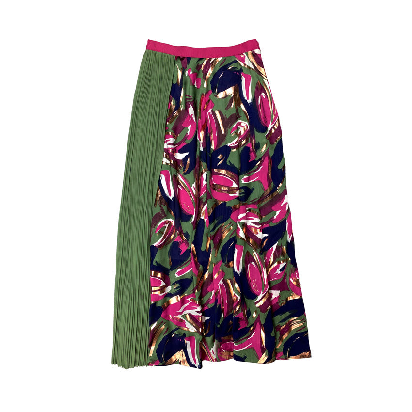 Haku Printed Pleated Skirt PAINT