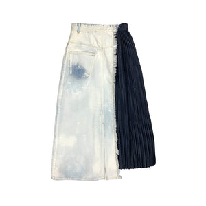 Bleached Painted Denim Skirt BLUE