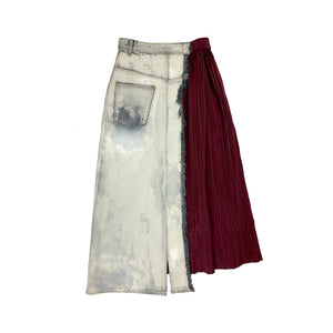 Bleached Painted Denim Skirt GREY
