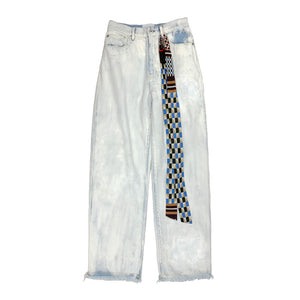 Bleached Painted Denim Pants BLUE
