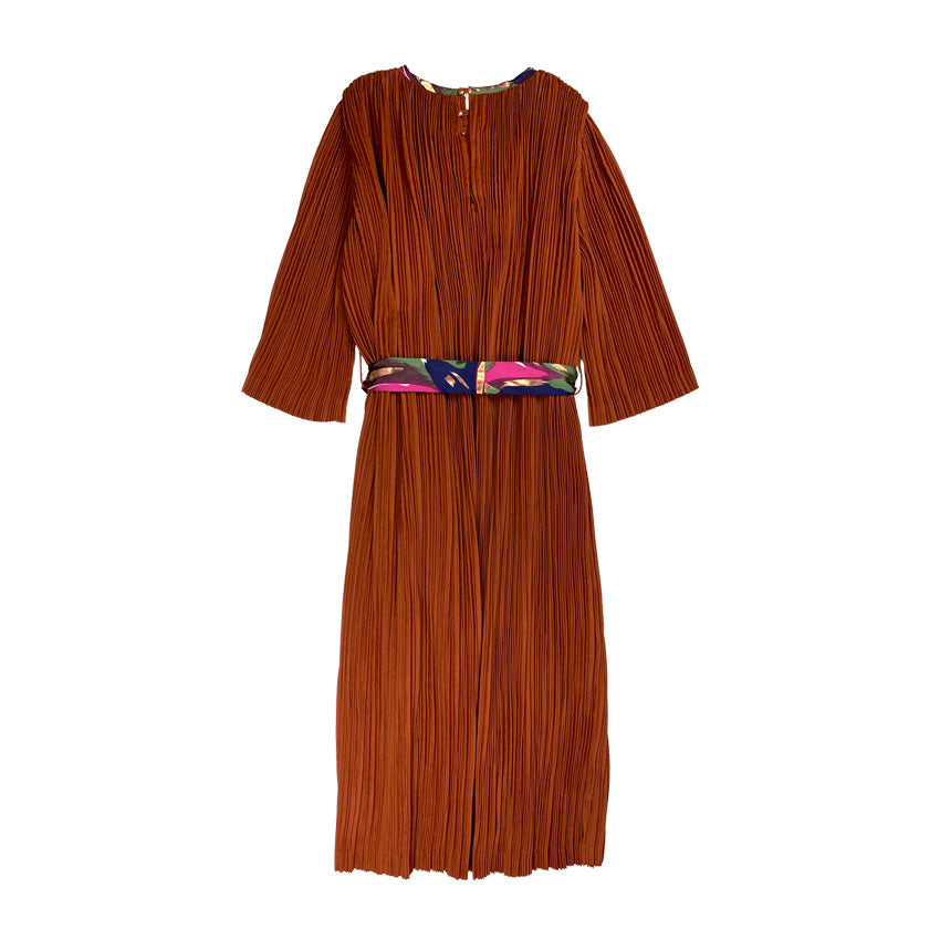 [PRE-ORDER] Pleated Suede Dress ORANGE