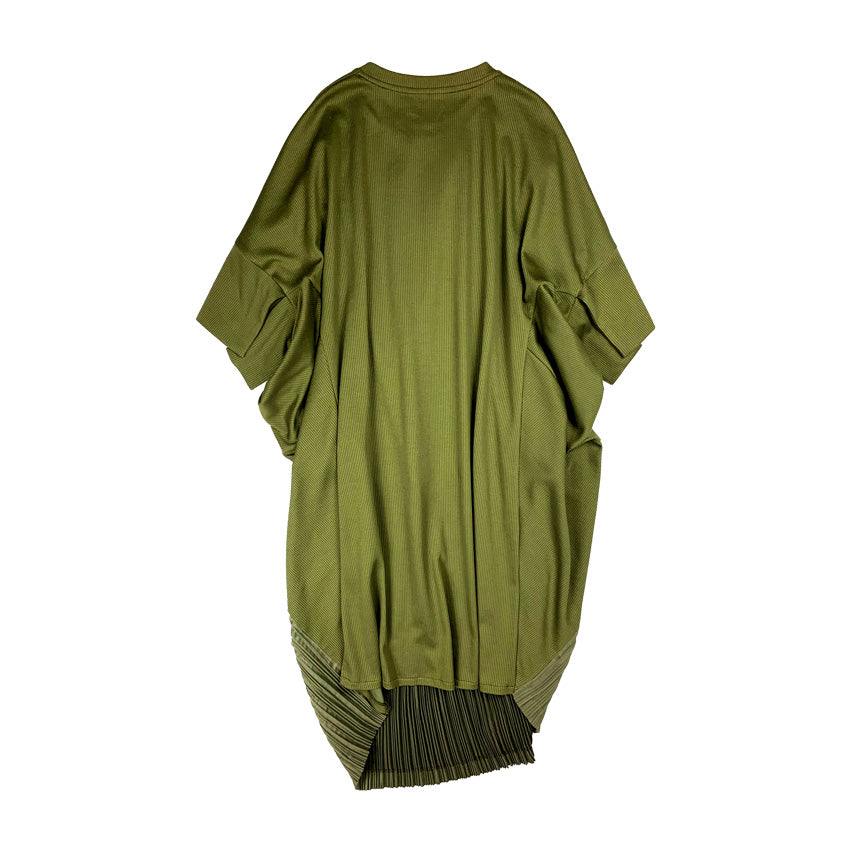 Pleated Drape Dress OLIVE