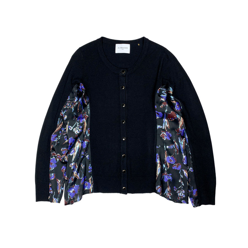 Haku Printed Knit Cardigan BLACK