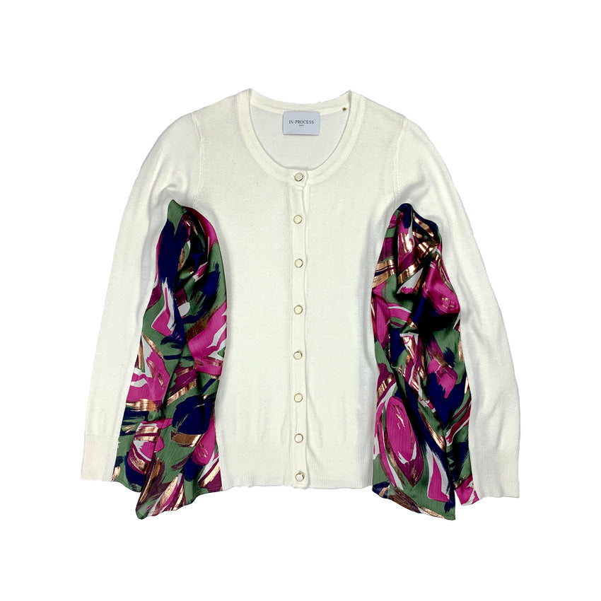 Haku Printed Knit Cardigan WHITE