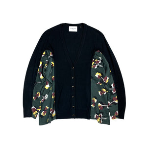 Printed Knit Cardigan BLACK