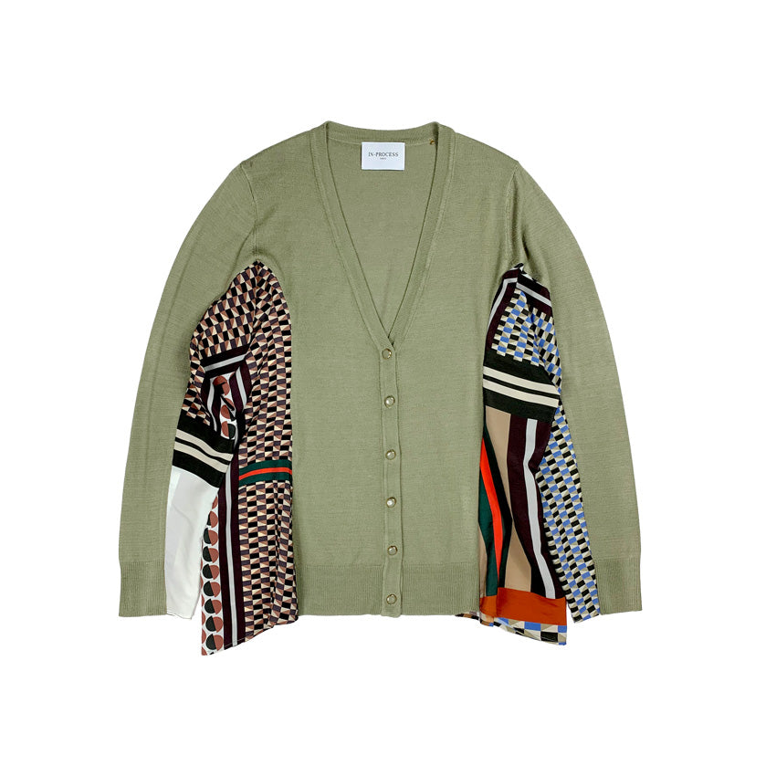 Printed Knit Cardigan OLIVE